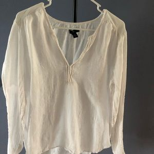 White sheer linen Gap long sleeve size large